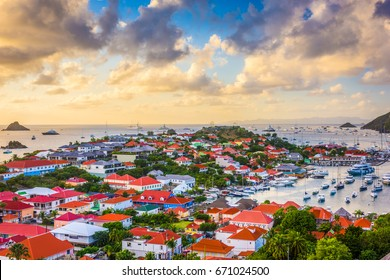 Gustavia, Saint Barthelemy skyline and harbor in the West Indies.