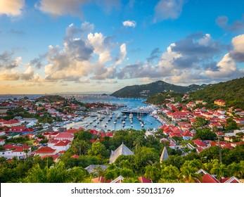 Gustavia, Saint Barthelemy skyline on the Caribbean.