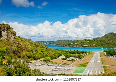 Gustavia, St. Barths / French West Indies - October 5, 2013: Gustaf III Airport, also known as Saint Barthélemy Airport, sometimes as St. Jean Airport, is a public use airport.