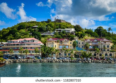 Gustavia, St. Barths / French West Indies - October 5, 2013: The main town, Gustavia, has many high-end boutiques that are an essential source of revenue for the island of Saint Barthélemy.
