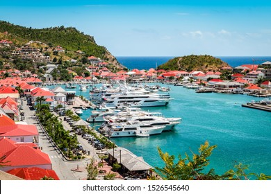 Gustavia, St Barts. Luxury yachts in harbor, West Indies, Caribbean.