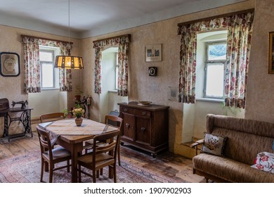 GUTACH, GERMANY - SEPTEMBER 2, 2019: Room interior in Black Forest Open Air Museum in Gutach village in Baden-Wuerttemberg, Germany