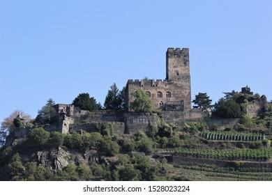 Gutenfels Castle, Riverside of Rhine, Germany.