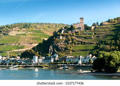 Gutenfels medieval castle and the town Kaub in the famous Rhine Gorge north of Rudesheim, Germany, on a sunny autumn morning.