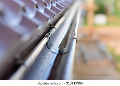 gutter on a metal roof