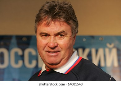 Guus Hiddink, Russian soccer team coach, attends a news conference in Moscow on October 10, 2007.