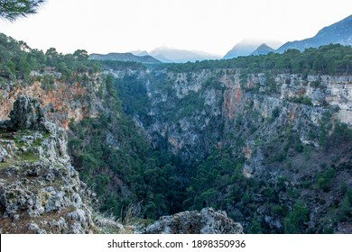 Guver Cliff Antalya Turkey. Mountain landscape. Nature trees and peace.