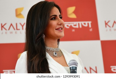 Guwahati, Assaam, India.12 August 2018.  Bollywood actress Katrina Kaif speaks to her fans as she attends the opening ceremony of Kalyan jewellers showroom in Guwahati.