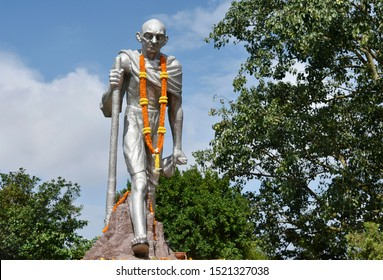 Guwahati, Assam, India. 02 October 2019. A garlanded statue of Mahatma Gandhi seen during his 150th Birth anniversary celebrations, in Guwahati.