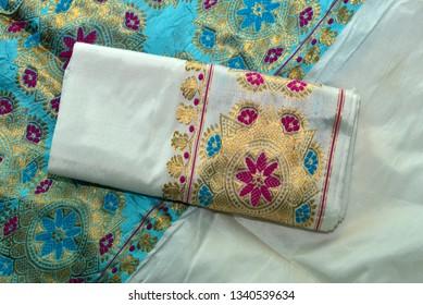Guwahati, Assam, India. 12 March 2019. Assamese silk sarees in a showroom in Guwahati.