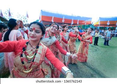 GUWAHATI, ASSAM, INDIA – APRIL 14, 2007 : Assamese women dressed for traditional Bihu dance also called  Bohag Bihu or Rongali Bihu the festival and celebrates of Assamese New Year (mid-April).