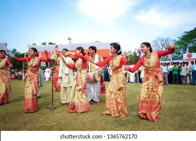 GUWAHATI, ASSAM, INDIA – APRIL 14, 2007 : Assamese dressed for traditional Bihu dance also called  Bohag Bihu or Rongali Bihu the festival and celebrates of Assamese New Year (mid-April).
