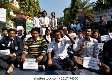 Guwahati, Assam, India. January 11, 2019. Students of Guwahati Commerce college during a protest in against Citizenship Amendment Bill 2016 in Guwahati.