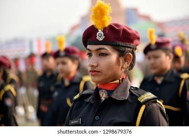 Guwahati, Assam, India. January 26, 2019. Women commandos of Assam police 'Virangana' personnel during the 70th Republic Day parade at Veterinary Field in Khanapara.