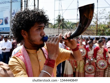 Guwahati, Assam, India. March 20, 2019. A man plays Assamese traditional pepa during former All Assam Students Union leader Mani Madhav Mahanta arrives to join Assom Gana Parisahad  (AGP) party.