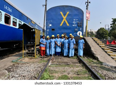 Guwahati, Assam, India. March 6, 2019. Women workers of the Northeast Frontier Railway working at Guwahati Railway Station, as International Women's Day is celebrated on March 8 every year.
