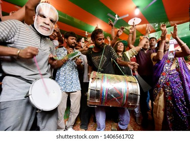 Guwahati, Assam, India. May 23, 2019. Bharatiya Janata Party (BJP) supporters celebrates for partys victory in the 2019 Lok Sabha polls, in Guwahati.