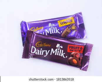 """"""" Guwahati, Assam / India - September 12, 2020 : Famous chocolate brand Dairy Milk Crackle and Dairy Milk Fruit and Nut from Cadbury. """""""