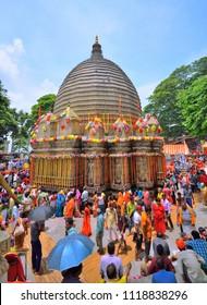 Guwahati, India - June 23, 2018: Devotees visiting Kamakhya temple during Ambubachi mela