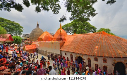 Guwahati, India - June 23, 2018: Devotees visiting Kamakhya temple during Ambubachi mela
