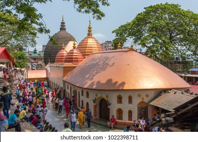 Guwahati, India - May 7, 2017: Top view of the Kamakhya Mandir temple in Guwahati, Assam state, North East India