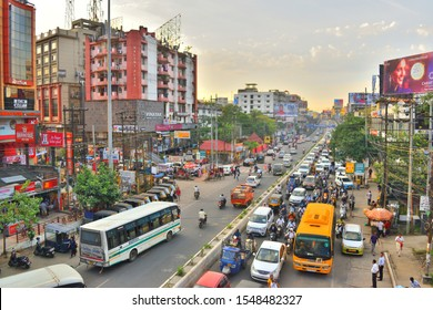 Guwahati, India - October 30, 2019: Huge number of vehicles running through a busy street causing traffic jam.
