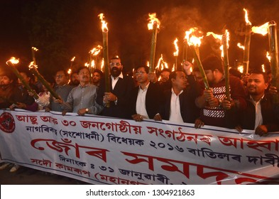 Guwahati,Assam/India 31January 2019:Activists of All Assam Students Union(AASU)taking out a torch light rally in protest against Citizenship (Amendment) Bill 2016 in Guwahati,Assam,India