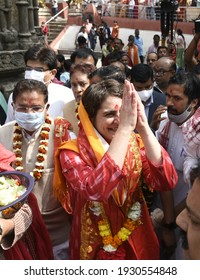 GUWAHATI,INDIA-01 MARCH 2021: All India Congress Committee (AICC) General Secretary Priyanka Gandhi Vadra at Kamakhya Temple.