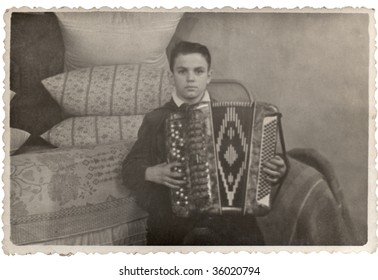 The guy with the Accordion. 1950-s XX Century, USSR.