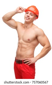 A guy with bare chest torso behind a hard hat on a white isolated background