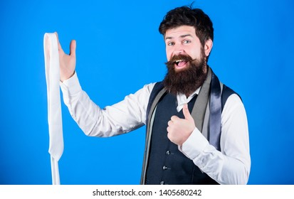 Guy with beard choosing tie. Perfect necktie. Types of necktie accessories. By presenting polished look for work or social occasions, neckties enhance wardrobe. Man bearded hipster hold few neckties.