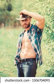 Guy bearded cowboy in nature. Macho six packs torso wear rustic style clothes and cowboy hat. Strong and confident cowboy. Owner of rancho. Man unshaven face muscular torso cowboy. Farm concept.