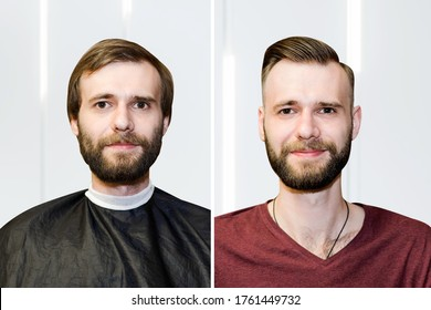 guy before after haircut Concept for a barber shop: the problem man of hair loss, alopecia, transplantation.