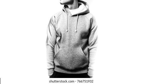 the guy in the blank grey hoodie, mock