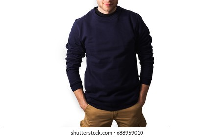 the guy in the blank navy hoodie, sweatshirt, stand,  smiling on a white background, mock up, free space, logo, design, template for design print, mock up isolated.