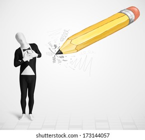 Guy in body mask with a big hand drawn pencil concept