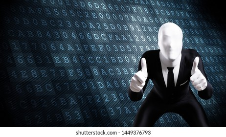guy in business morphsuit showing approval with thumbs up in front of hexadecimal code