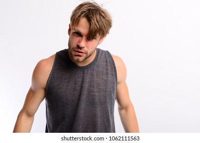 Guy with confident or angry face. Man with stylish hair isolated on white background. Young gangster with rebellious look. Youth and casual style concept