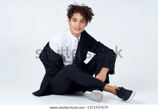 2f4cccca9c654 Guy Curly Hair Earrings His Ears Stock Photo (Edit Now) 1371937679