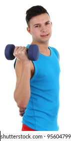 A guy with a dumbell, isolated on white