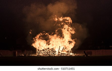 Guy Fawkes bonfire during the 5th of November celebrations in Lindfield, West Sussex