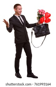 A guy with flowers and a bag is holding hands on a white isolated background