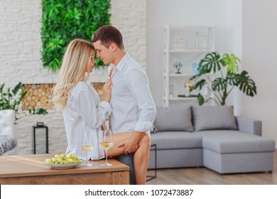 Guy with a girl before sex / Guy with a girl after a stormy night / copy space