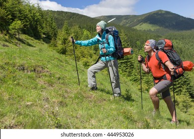 The guy with the girl in the campaign with a backpack in the mountains.