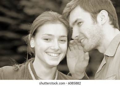 guy and  girl talk among themselves emotionally,  close up