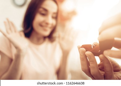 A Guy Gives A Ring To Girlfriend. Valentine's Day. Love Each Other. Sweetheart's Holiday Concept. Feelings Showing. Celebrating Date. Young And Handsome. Beautiful Relationship. Happy Together.