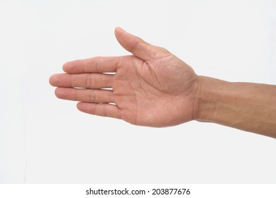 Guy hand show stop symbol on isolated white background