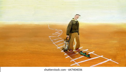 A guy with an hourglass sees getting a train on the tracks, but it's a toy train, is disappointed and discouraged