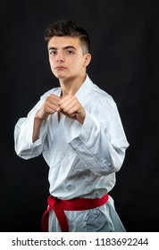 guy karate on a dark background