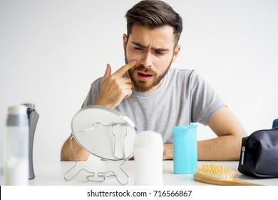 Guy morning hygiene